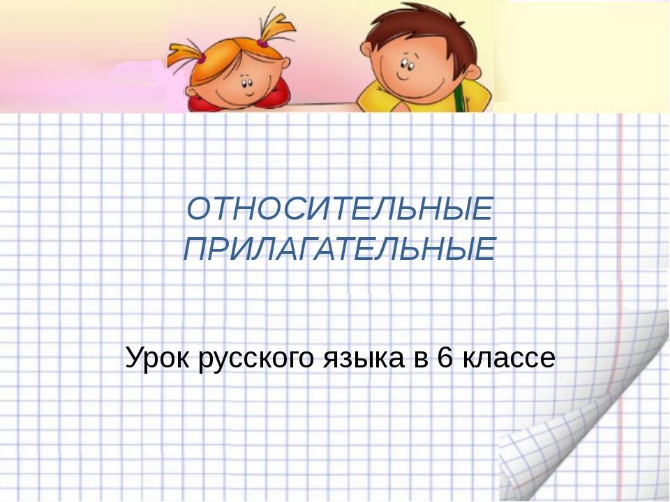 ОТНОСИТЕЛЬНЫЕ ПРИЛАГАТЕЛЬНЫЕ Урок русского языка в 6 классе