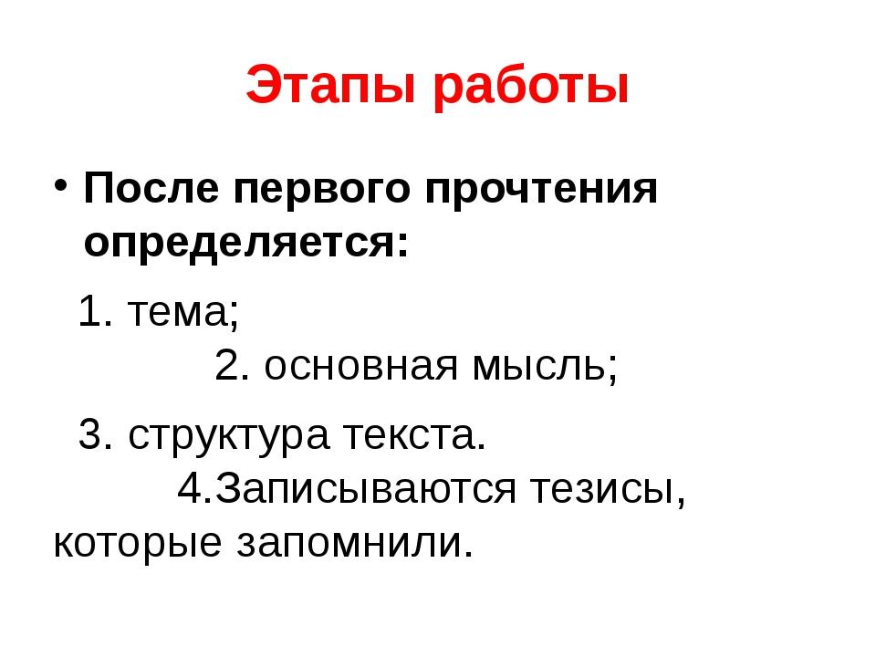 Этапы работы После первого прочтения определяется: 1. тема; 2. основная мысль...