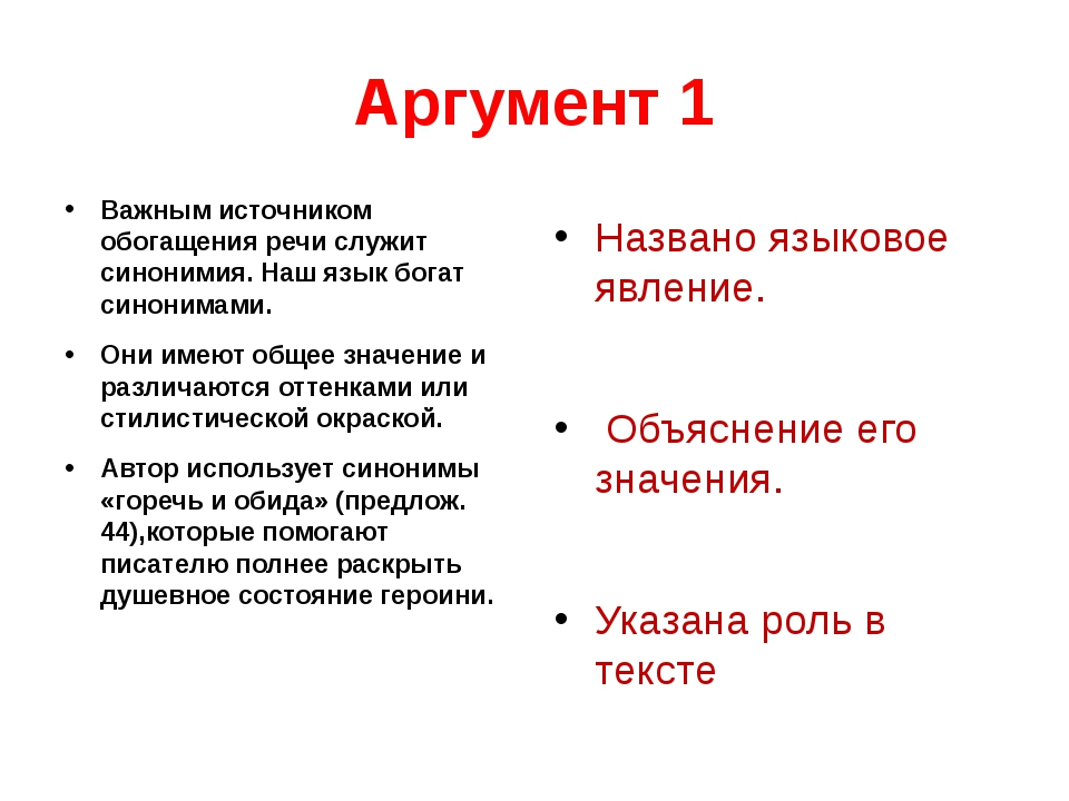 Аргумент 1 Важным источником обогащения речи служит синонимия. Наш язык богат...