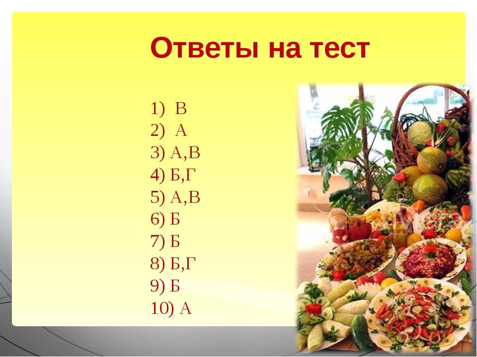 Ответы на тест 1) В 2) А 3) А,В 4) Б,Г 5) А,В 6) Б 7) Б 8) Б,Г 9) Б 10) А