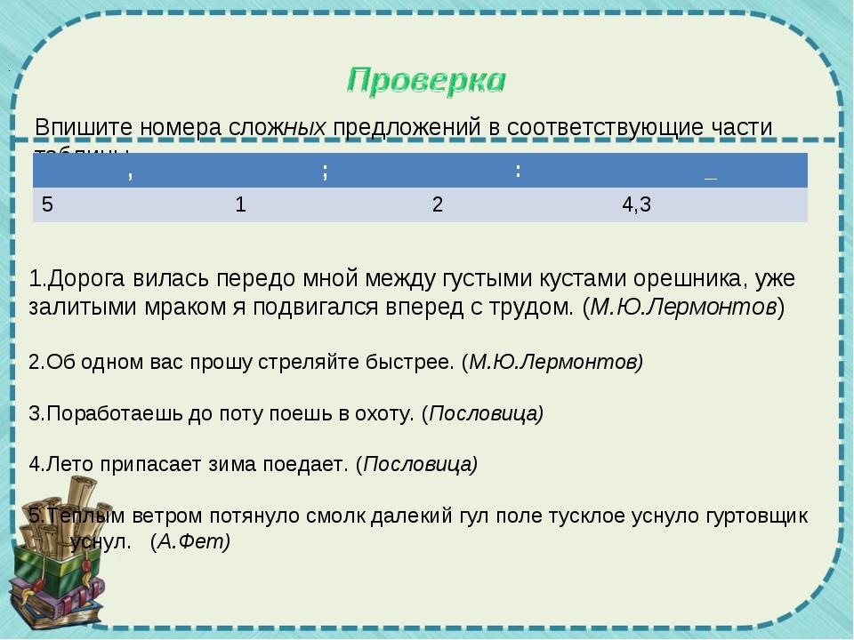 Впишите номера сложных предложений в соответствующие части таблицы. Дорога ви...
