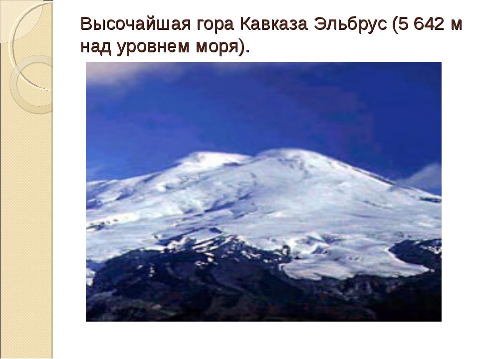 Высочайшая гора Кавказа Эльбрус (5 642 м над уровнем моря).