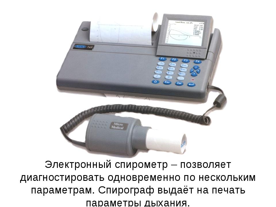 Электронный спирометр – позволяет диагностировать одновременно по нескольким...