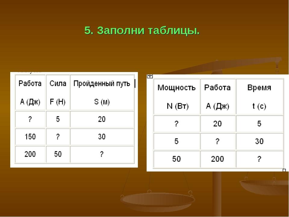 5. Заполни таблицы.