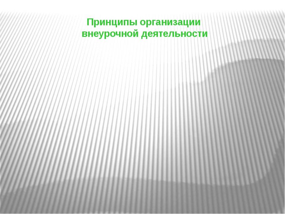 Принципы организации внеурочной деятельности