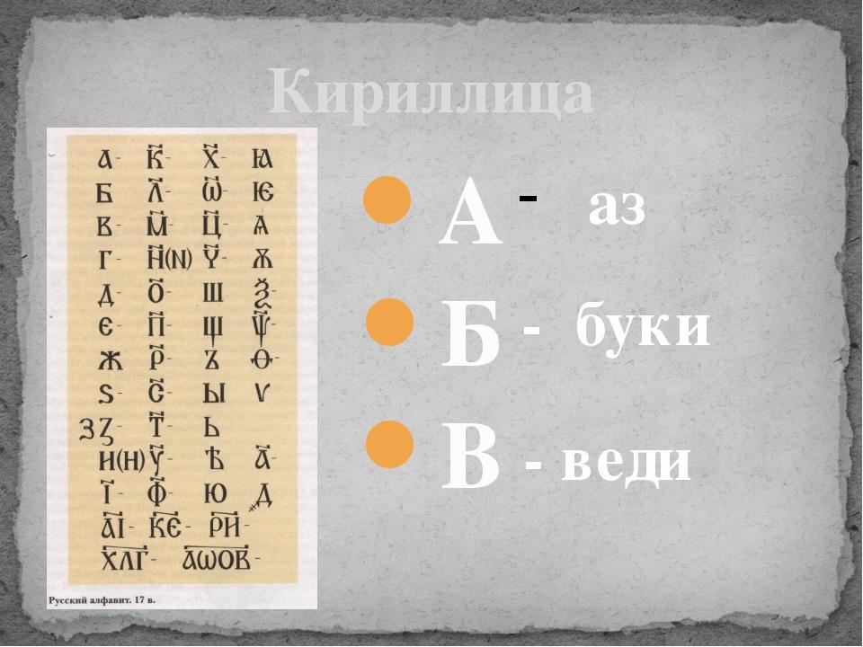 Кириллица А Б В аз - буки - веди