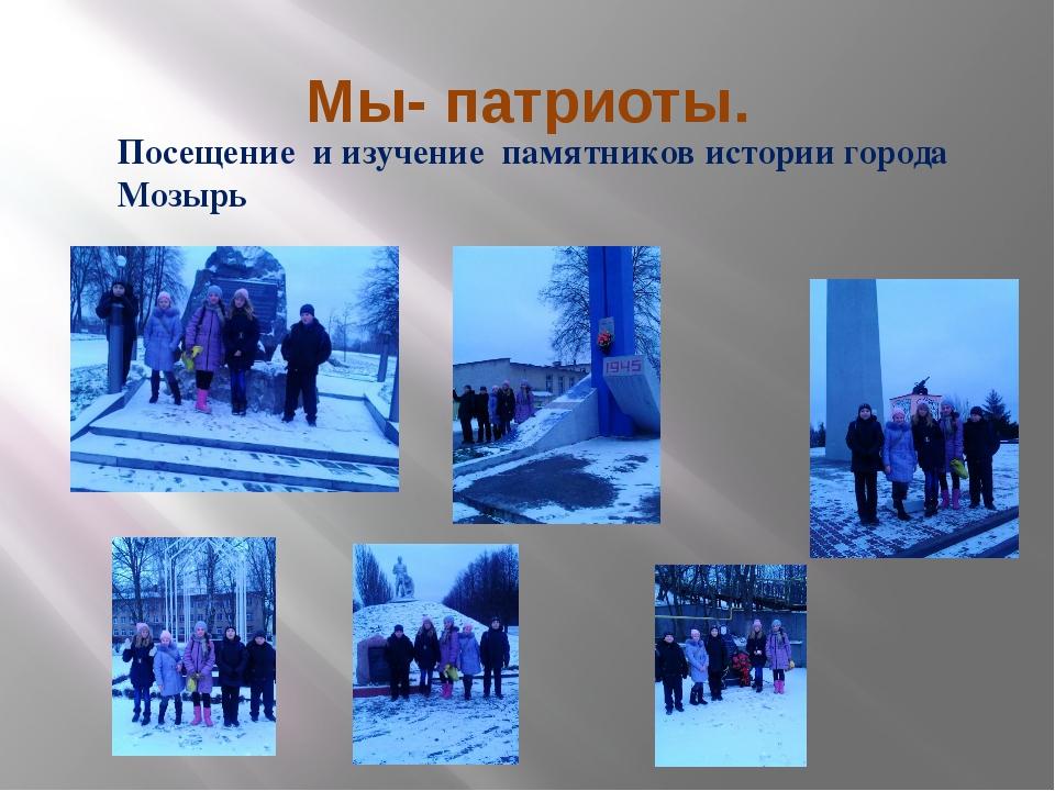 Мы- патриоты. Посещение и изучение памятников истории города Мозырь