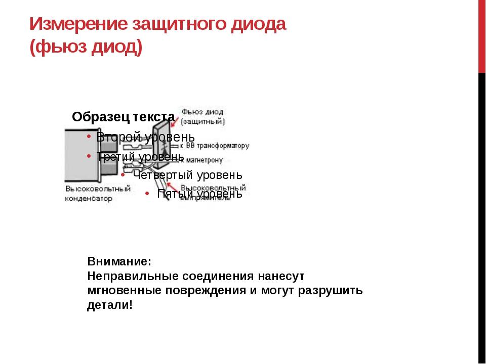 Измерение защитного диода (фьюз диод) Внимание: Неправильные соединения нанес...