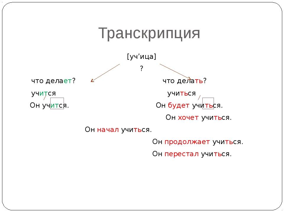 Транскрипция [уч'ица] ? что делает? что делать? учится учиться Он учится...