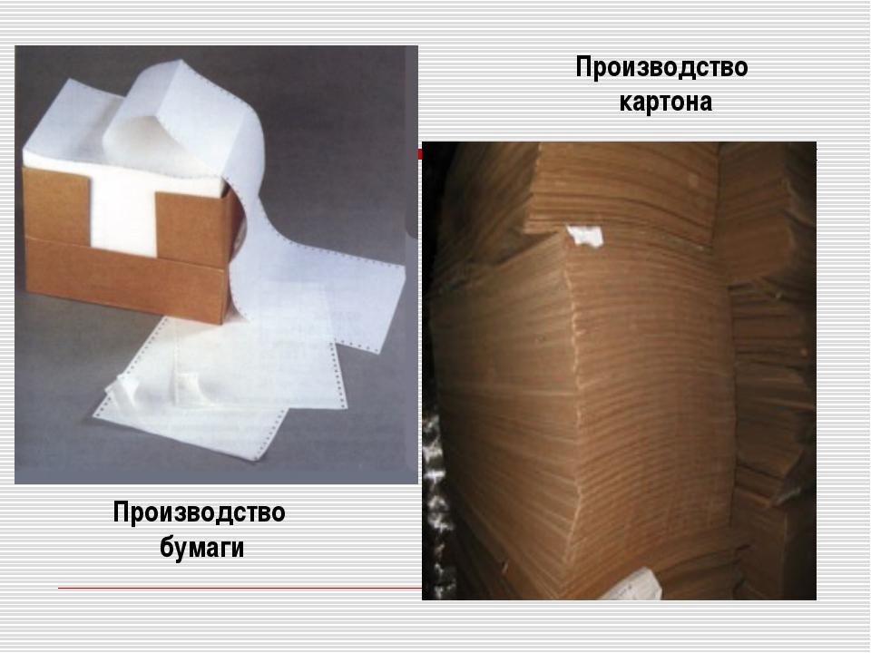 Производство бумаги Производство картона