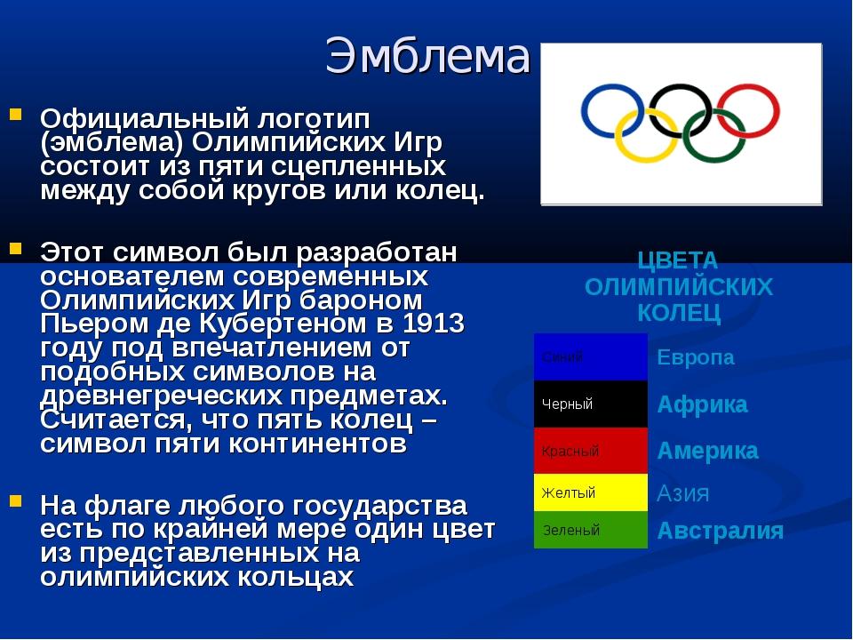 Эмблема Официальный логотип (эмблема) Олимпийских Игр состоит из пяти сцеплен...