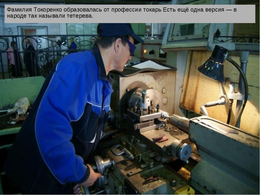Фамилия Токоренко образовалась от профессии токарь Есть ещё одна версия — в...