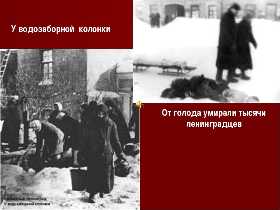 У водозаборной колонки От голода умирали тысячи ленинградцев