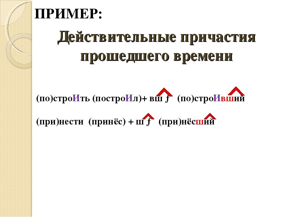 Действительные причастия прошедшего времени (по)строИть (построИл)+ вш → (по)...