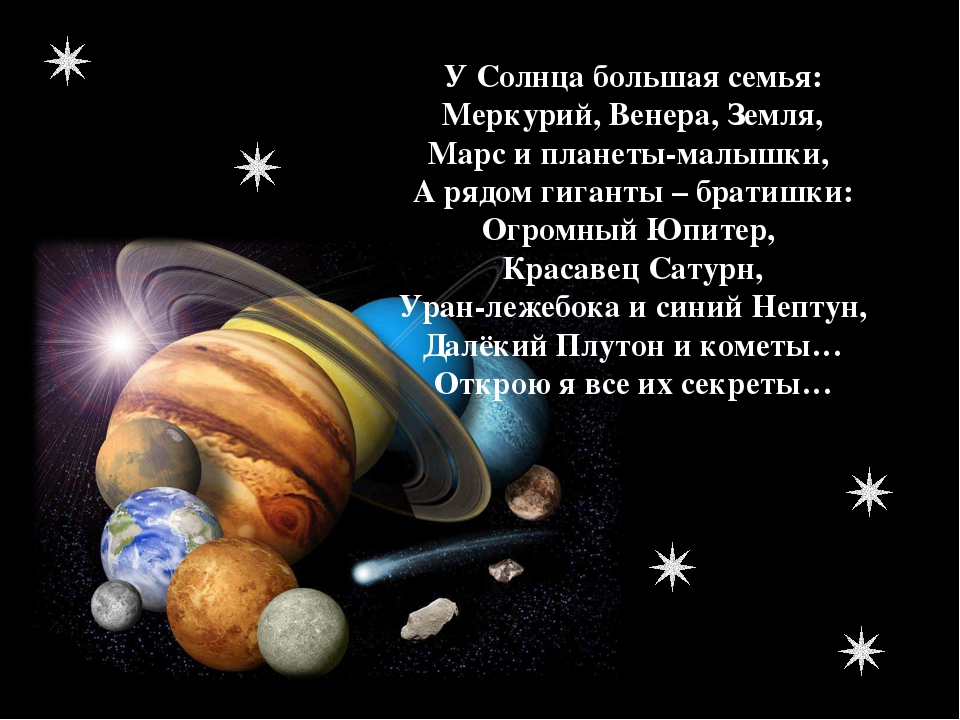 У Солнца большая семья: Меркурий, Венера, Земля, Марс и планеты-малышки, А ря...