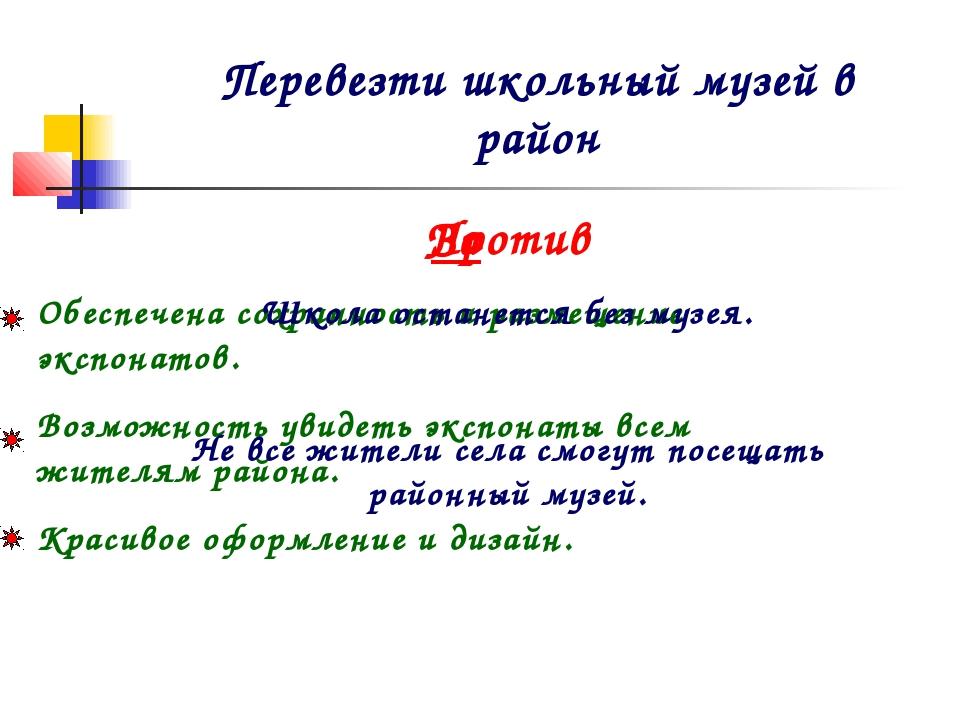 Перевезти школьный музей в район За Обеспечена сохранность и размещение эксп...