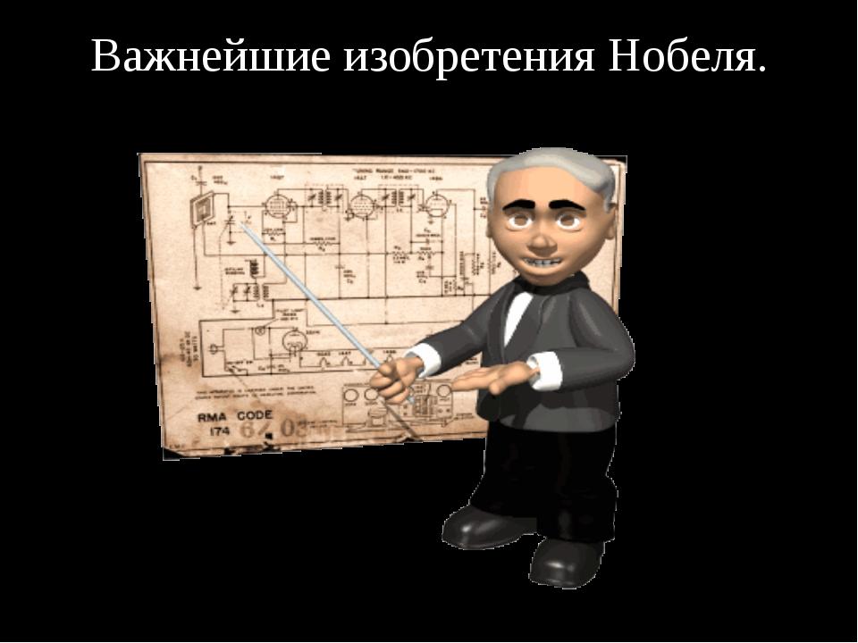 Важнейшие изобретения Нобеля.