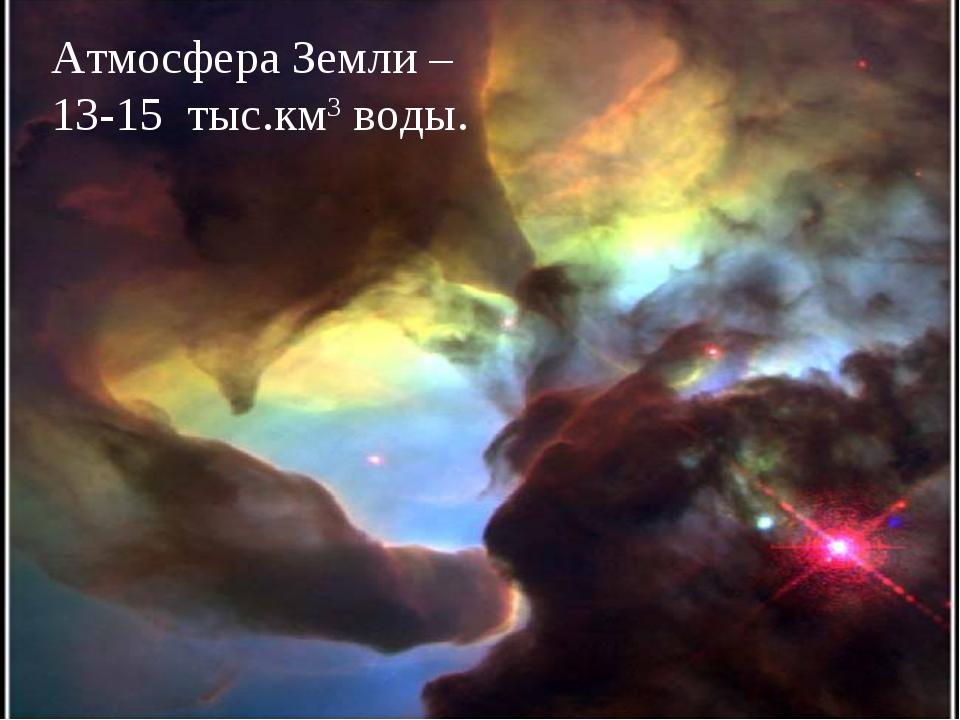 Атмосфера Земли – 13-15 тыс.км3 воды.