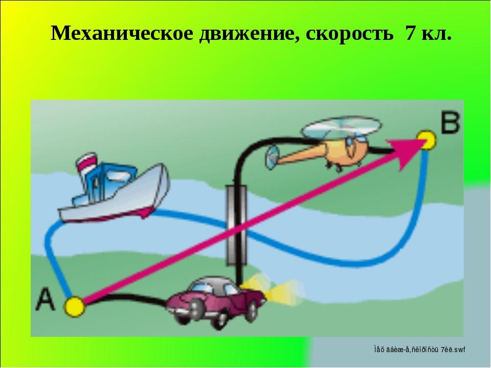 Механическое движение, скорость 7 кл.