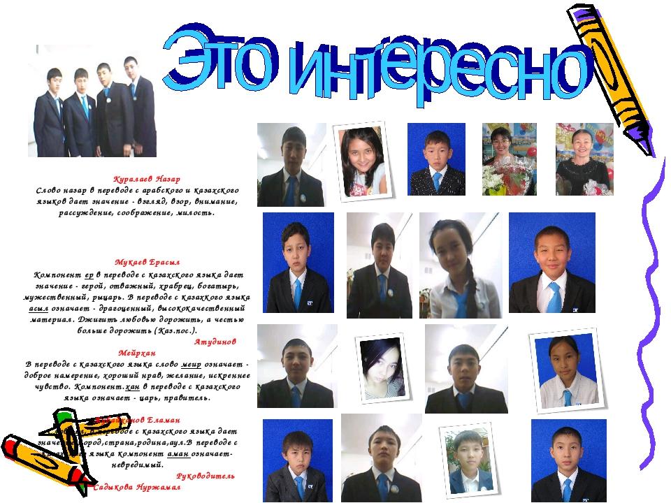 Значение казахских имен в картинках