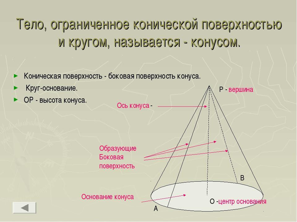 Тело, ограниченное конической поверхностью и кругом, называется - конусом. Ко...