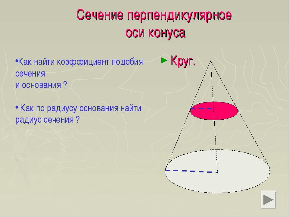 Сечение перпендикулярное оси конуса Круг. Как найти коэффициент подобия сечен...