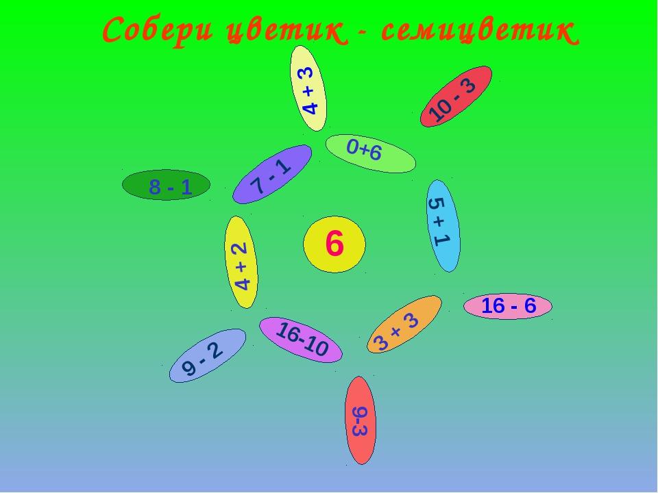 6 9-3 9 - 2 8 - 1 4 + 3 3 + 3 4 + 2 0+6 5 + 1 7 - 1 16-10 10 - 3 16 - 6 Собер...