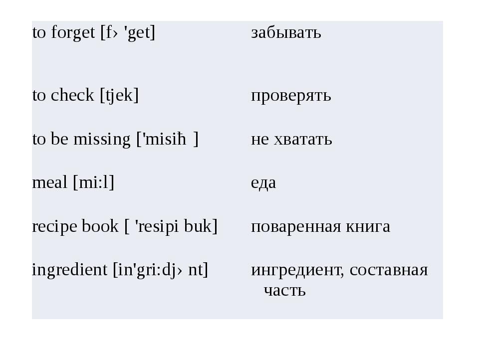 to forget [fə'get] забывать to check [tjek] проверять to be missing ['misiȵ]...
