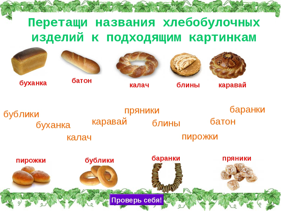 Перетащи названия хлебобулочных изделий к подходящим картинкам буханка карава...