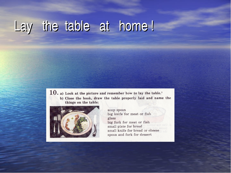 Lay the table at home !