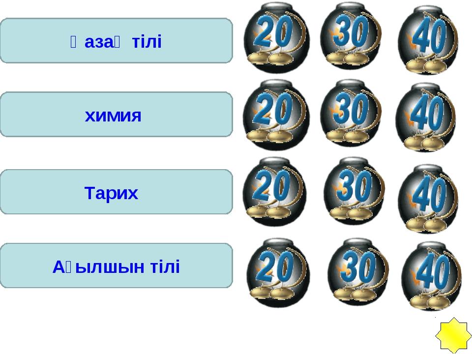 Қазақ тілі химия Тарих Ағылшын тілі