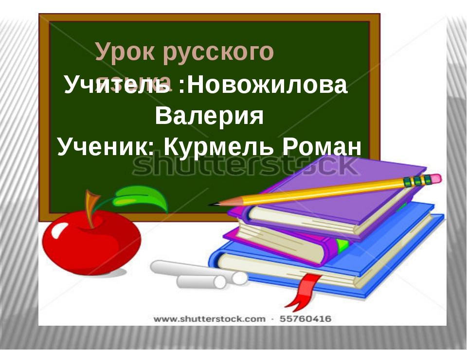 Урок русского языка Учитель :Новожилова Валерия Ученик: Курмель Роман