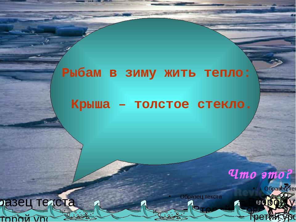 Рыбам в зиму жить тепло: Крыша – толстое стекло. Что это?