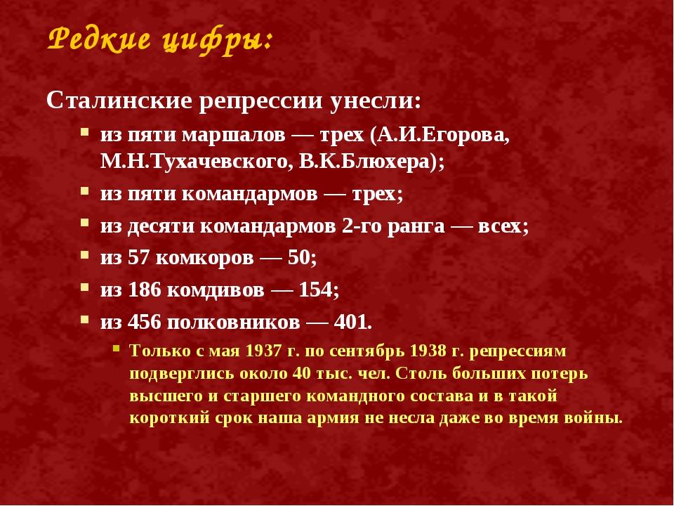 Редкие цифры: Сталинские репрессии унесли: из пяти маршалов — трех (А.И.Егоро...