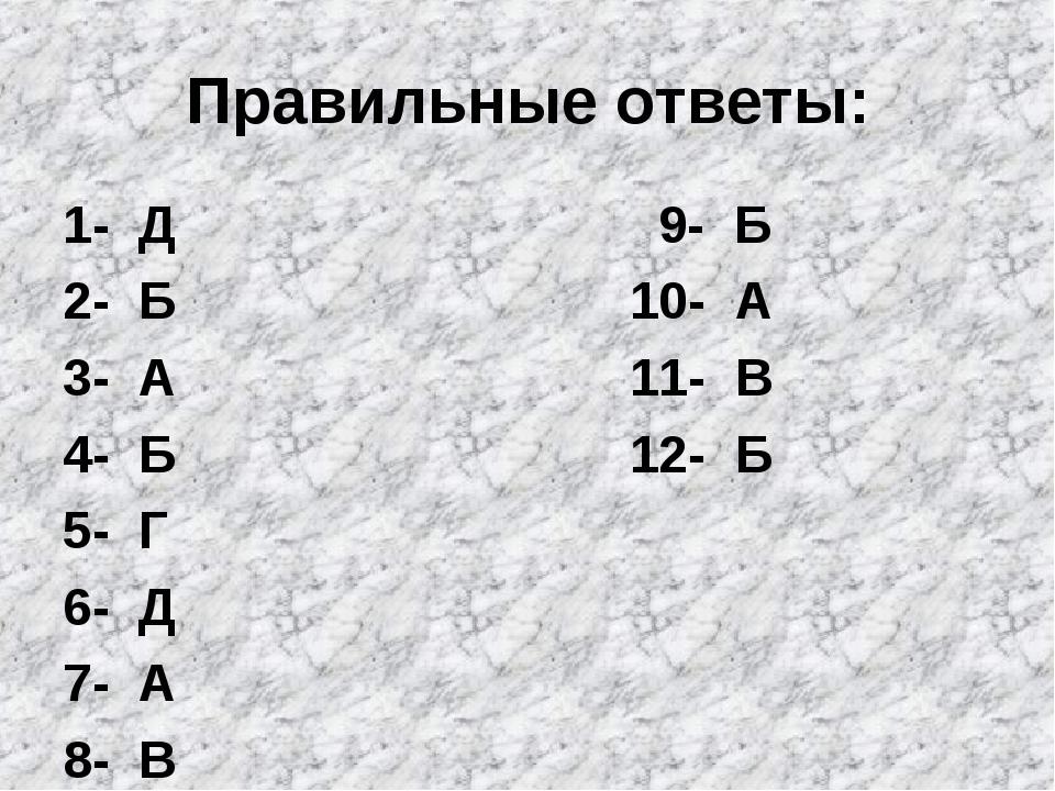 Правильные ответы: 1- Д 9- Б 2- Б 10- А 3- А 11- В 4- Б 12- Б 5- Г 6- Д 7- А...