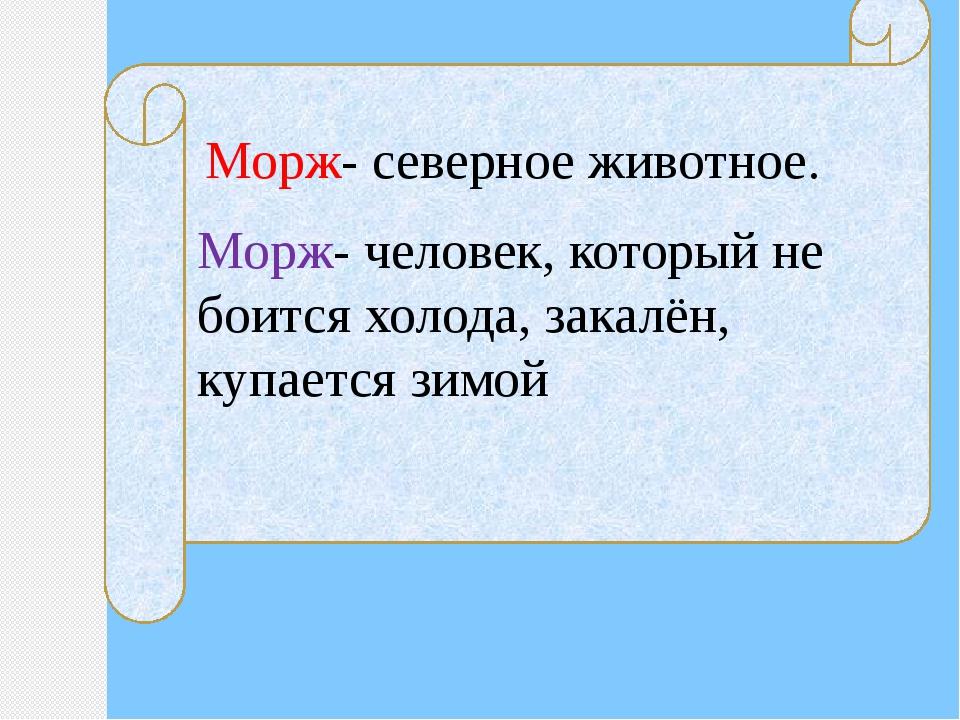 Морж- северное животное. Морж- человек, который не боится холода, закалён, к...
