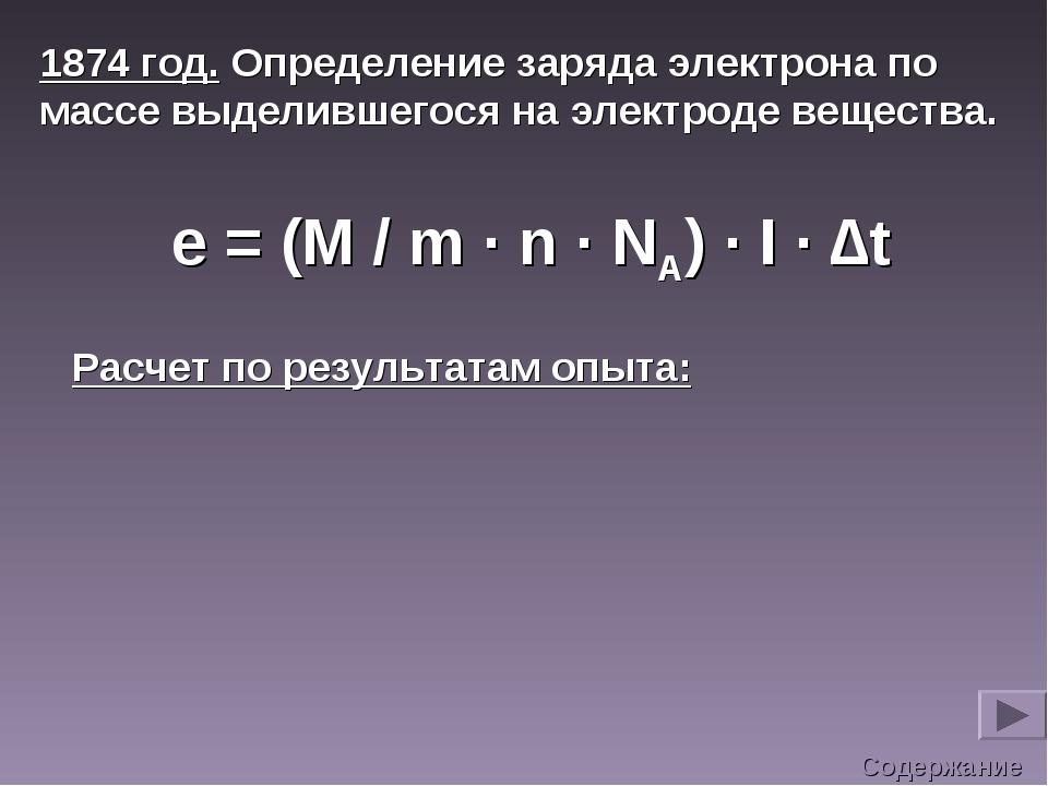 1874 год. Определение заряда электрона по массе выделившегося на электроде ве...