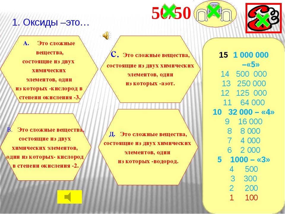 2.Химический элемент кислород В. C А. N С. Na Д. О 1 000 000 –«5» 14 500 000...