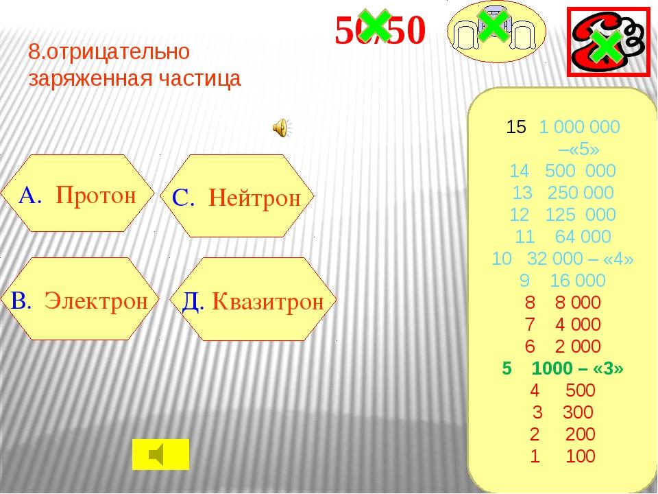 9.Хлорид железа (III)- это В. FeCl3 A. Fe 2 O3 C. K Cl Д. CuO 1 000 000 –«5»...