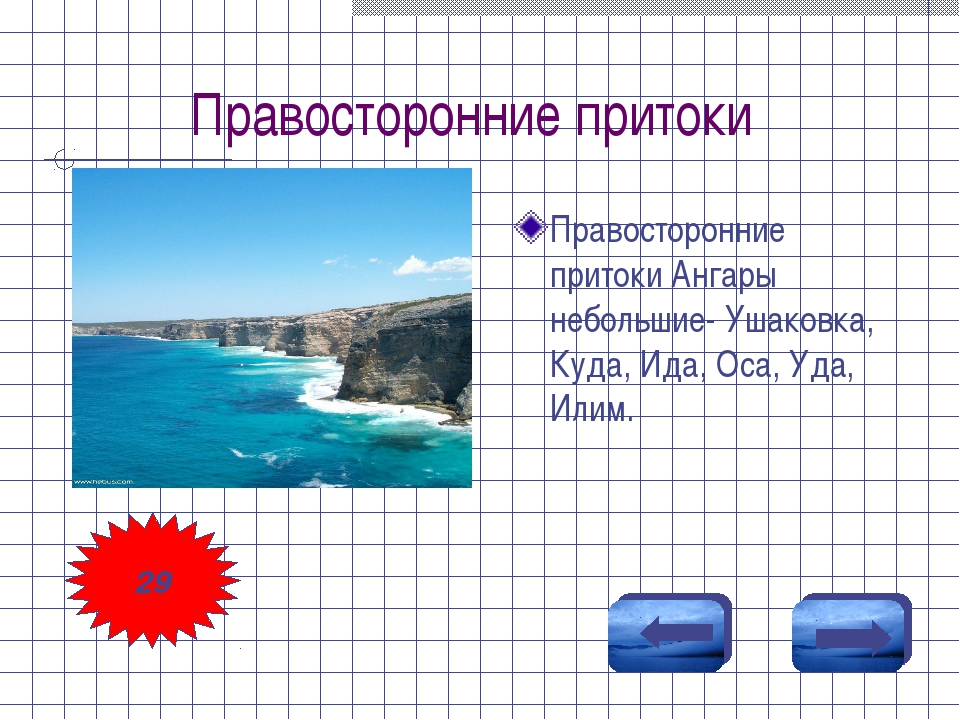 Правосторонние притоки Правосторонние притоки Ангары небольшие- Ушаковка, Куд...
