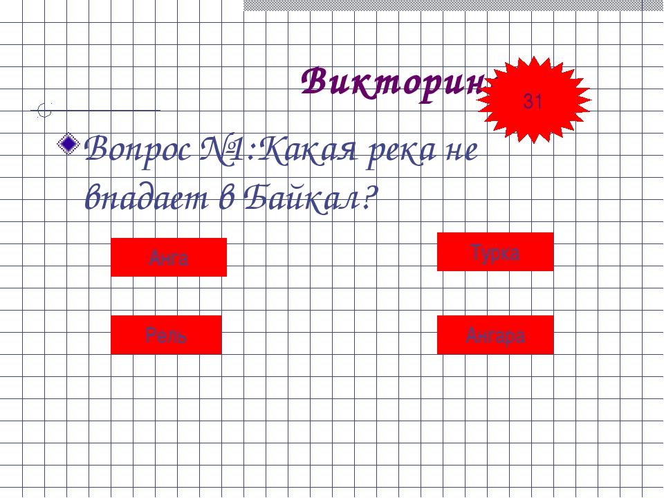 Викторина Вопрос №1:Какая река не впадает в Байкал? Анга Турка Рель Ангара 31