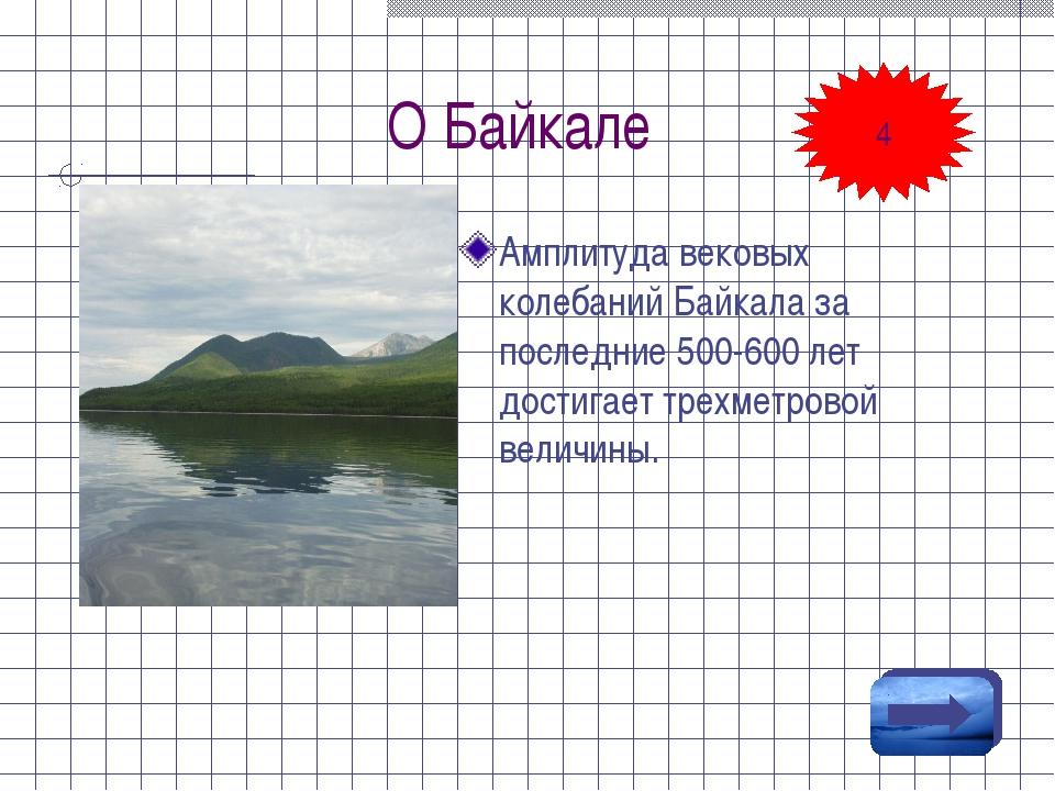 О Байкале Амплитуда вековых колебаний Байкала за последние 500-600 лет достиг...