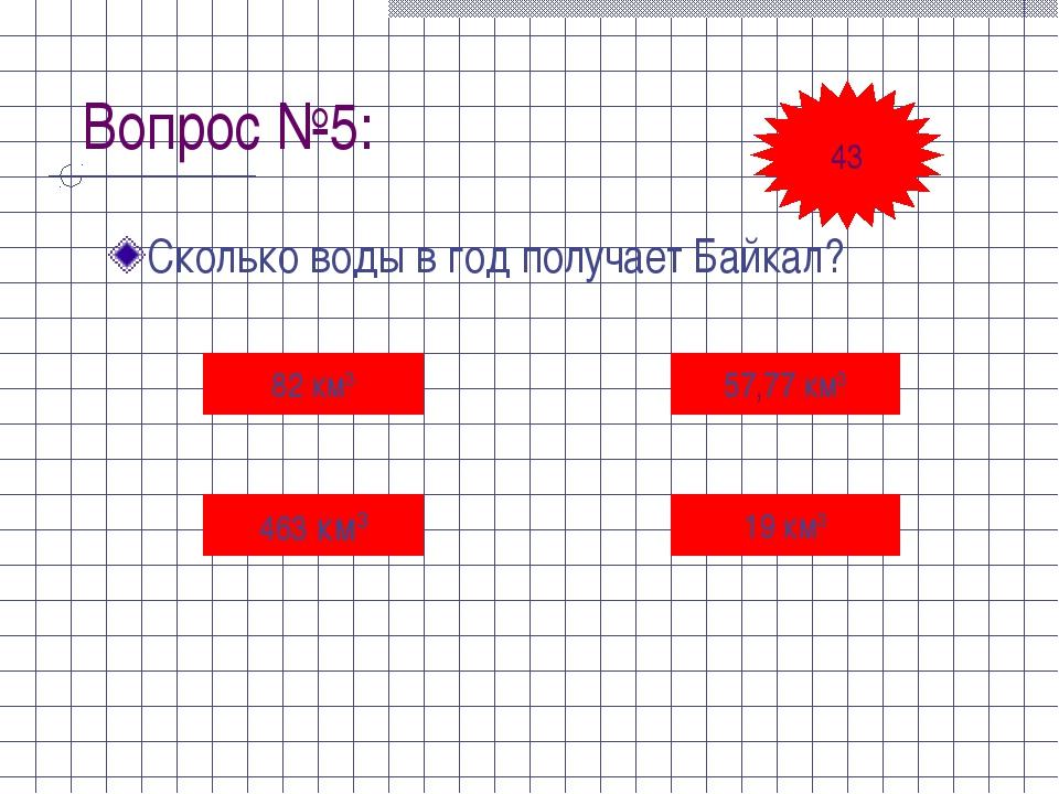 Вопрос №5: Сколько воды в год получает Байкал? 82 км3 463 км3 57,77 км3 19 км...