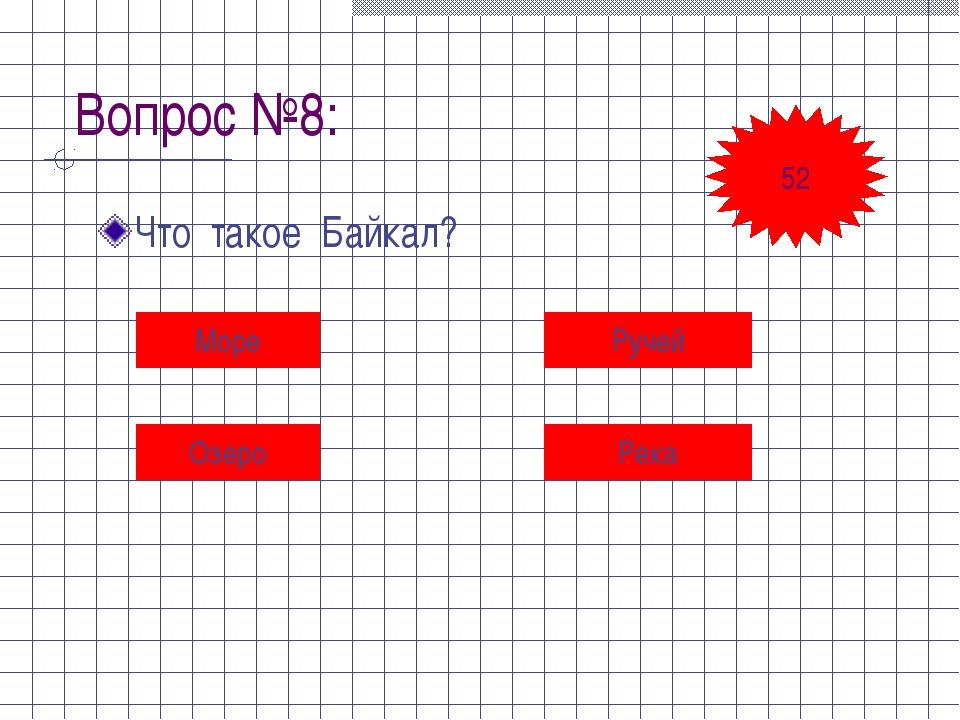 Вопрос №8: Что такое Байкал? Море Ручей Озеро Река 52