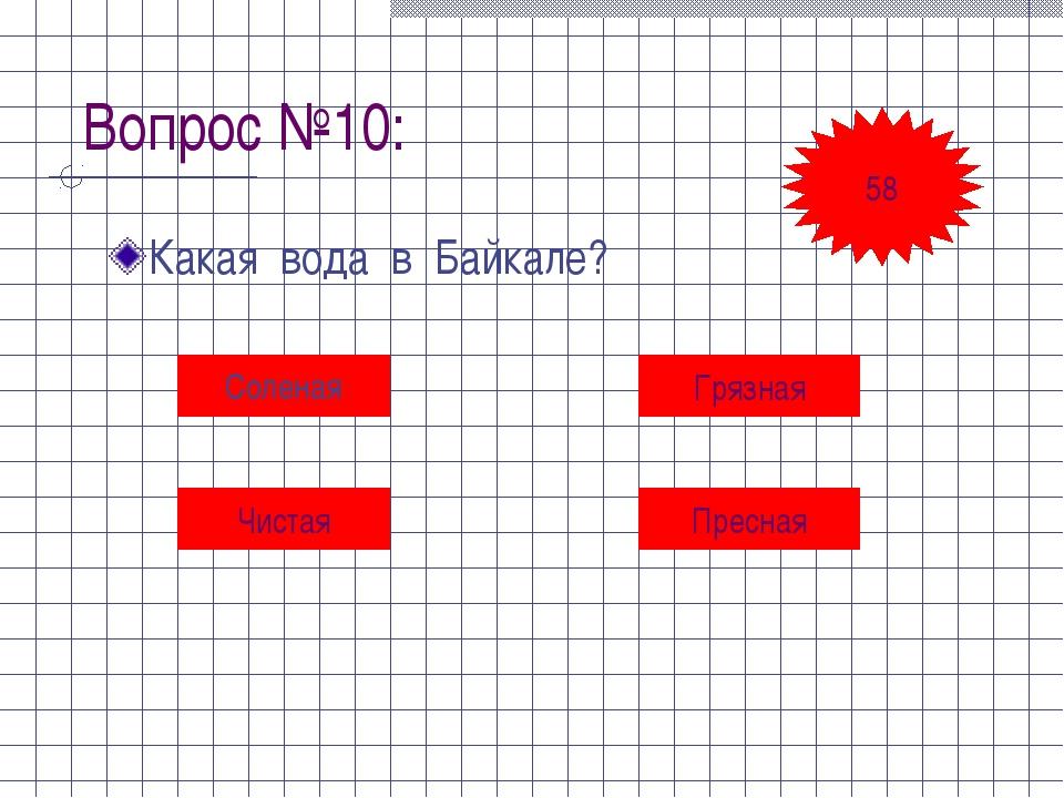 Вопрос №10: Какая вода в Байкале? Соленая Грязная Чистая Пресная 58