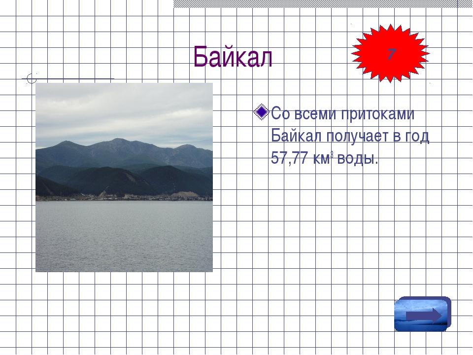 Байкал Со всеми притоками Байкал получает в год 57,77 км3 воды. 7