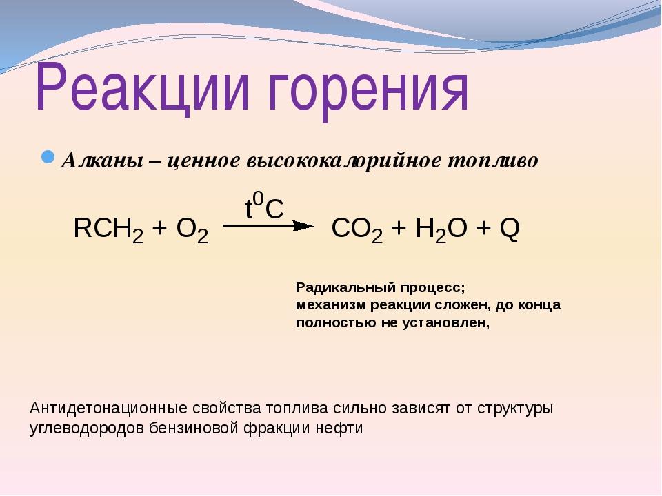 Реакции горения Алканы – ценное высококалорийное топливо Радикальный процесс;...