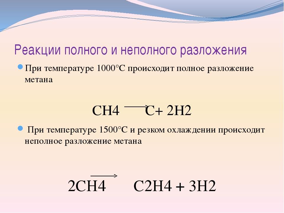 Реакции полного и неполного разложения При температуре 1000°С происходит полн...