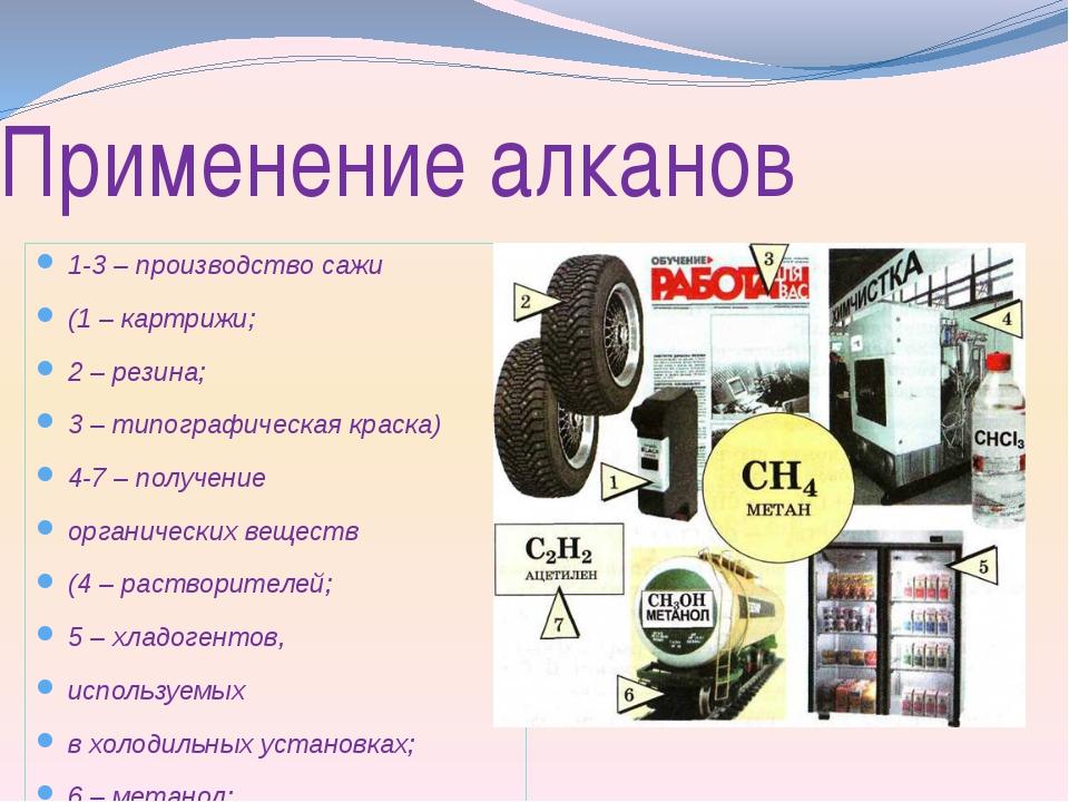 Применение алканов 1-3 – производство сажи (1 – картрижи; 2 – резина; 3 – тип...