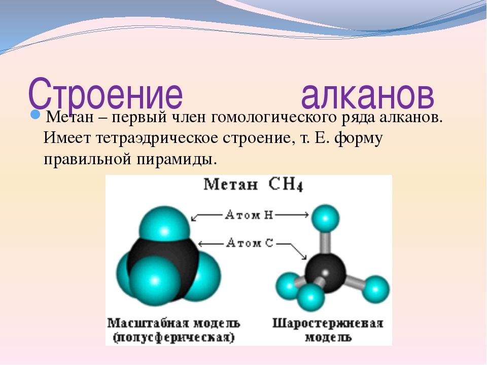 Строение алканов Метан – первый член гомологического ряда алканов. Имеет тетр...